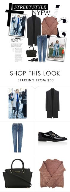 """""""Street Style"""" by styles-c ❤ liked on Polyvore featuring KAROLINA, The Row, Topshop, STELLA McCARTNEY, MICHAEL Michael Kors, Acne Studios, StreetStyle, NYFW and contest"""