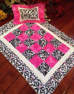 """Quilted Pink Black Doll Quilt for American Girl Grace Addy or Other 18"""" Bed 