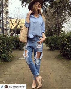 GIULIA GAUDINO #new #collection #shopart #springsummer16 #shopartmania #adorage #style #wearingshopart #giuliagaudino #coolstyle #denim #destroyed #shirt