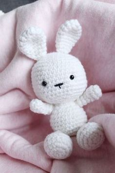 Adapted from the Spring Bunny amigurumi pattern written by Stephanie of All About Ami, this bunny has its head and body worked together as one piece to reduce a sewing step.