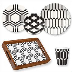 contemporary dinnerware with geometric patterns and graphic prints