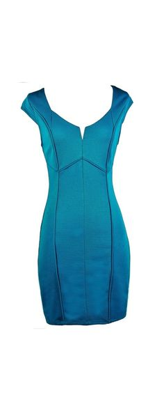 Lily Boutique Paneled Together Capsleeve Sheath Dress in Teal Blue, $38 Teal…