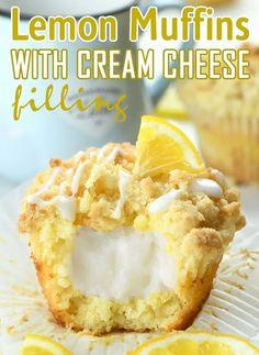 Lemon Desserts, Dessert Recipes, Lemon Desert Recipes, Lemon Recipes Baking, Easy Cream Cheese Desserts, Cream Cheese Muffins, Cream Cheese Breakfast, Cream Cheese Filling, Lemon Blueberry Muffins