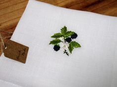 Blackberry hand embroidered handkerchief little berry fruit