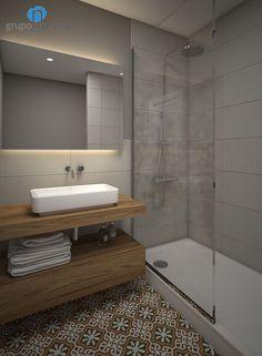 Salle de douche avec carrelage style carreaux de ciment et couleur neutre sur les murs