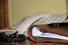 home office with telephone and agenda
