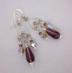 Sterling Silver Purple Bead Chandelier Earrings, Vintage Upcycled Dangle Earrings, OOAK Repurposed Jewelry Handmade - JryenDesigns