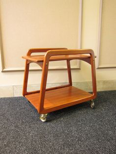 Vintage Danish Mid Century Teak Bar Cart by ModernSquirrel on Etsy, $400.00
