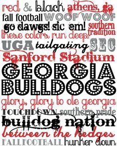 Georgia Bulldogs printable subway art from The Southern Darling blog