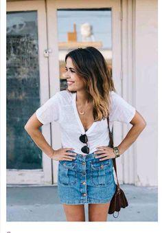 Plain white tee + denim skirt