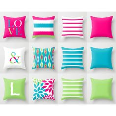 Throw Pillow Covers Hot Pink Scuba Blue Lime Accent Pillow Cover Couch... ($26) ❤ liked on Polyvore featuring home, home decor, throw pillows, black, decorative pillows, home & living, home décor, outdoor toss pillows, lime green throw pillows and outdoor accent pillows