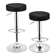 Costway Set of 2 Round Leather Seat Chrome Leg Chair Adjustable Hydraulic Swivel Bar Stool (Black) Counter Stools With Backs, Counter Height Bar Stools, Kitchen Counter Stools, Pub Stools, Swivel Bar Stools, Bar Chairs, Swivel Chair, Dining Chairs, Modern Glass Coffee Table