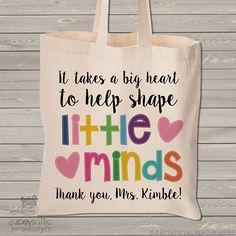teacher tote bag - adorable teacher tote for kindergarten, first grade - teacher gift takes a big heart to help shape little minds MSCL-028