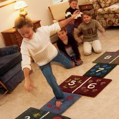 Indoor Hopscotch made out of carpet samples