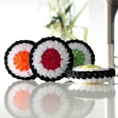 SUSHI Scrubbie - Tampons à récurer SUSHIS Double Crochet, Single Crochet, Exfoliating Sponge, Sushi, Eco Friendly Environment, Crochet Patron, Tampons, Cotton Towels, Learn To Crochet