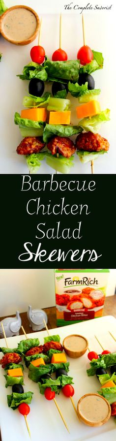Barbecue Chicken Salad Skewers ~ Deconstructed Barbecue Chicken Salad on skewer, perfect for as an appetizer or an after school snack with homemade bbq ranch dressing. ~ The Complete Savorist #BackYourSnack #ad #FarmRich