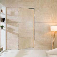 Panelado y puerta invisible | Gres porcelánico extrafino XLight Travertino