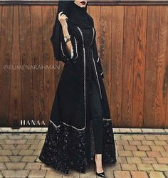 Habibah Velvet Open Abaya The clothing culture is very old. Hijab Outfit, Hijab Dress, Muslim Dress, Muslim Women Fashion, Islamic Fashion, Turkish Fashion, Abaya Designs, Abaya Fashion, Modest Fashion