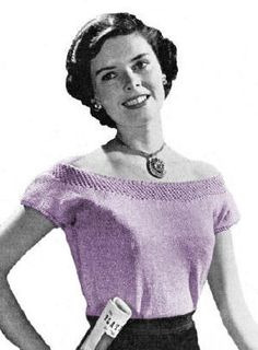 Dressy Off Shoulder Blouse Knitting Pattern PDF Download No 747 Sizes 12 14 16 This is a reproduction of a vintage pattern to knit an off the shoulde