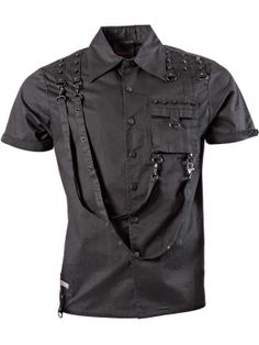 Button-down Gothic Shirt with bondages, rivets and front pocket