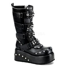 "3/12"" platform goth punk black pu calf boots w 4 staps & pyramid studs Size Run: Men's 4-13"
