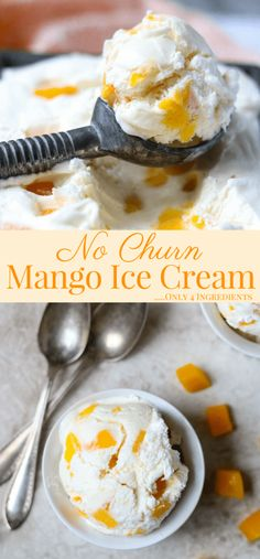 Make Homemade Mango Ice Cream!! Only 4 Ingredients to make this deliciously creamy mango ice cream with real diced mango, NO specialty ice cream making equipment is needed! via momsdinner.net #dessert  #homemade  #easyrecipe #nochurnicecream #mango #sweet