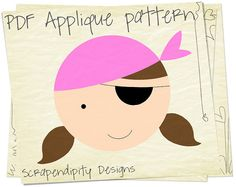 Girl Pirate Applique Template by ScrapendipityDesigns, $2.50 .... Great for a pirate themed girls quilt or shirt!