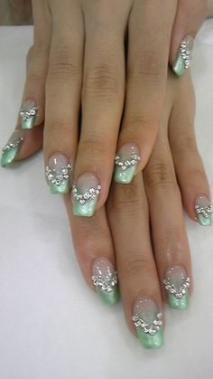 Nails light green with embellishment.my winter nails yes! Sexy Nails, Fancy Nails, Bling Nails, Love Nails, Rhinestone Nails, Fabulous Nails, Gorgeous Nails, Pretty Nails, French Manicure Designs
