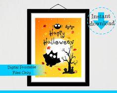 Bat Happy Halloween Vampire Instant Digital Download Sign