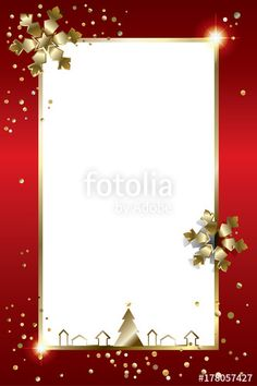 Vector: Vector Christmas greeting card with gold Christmas frame, copy space for text, tree, shiny snowflakes and confetti. Festive red border decoration.