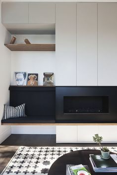 clean lines, simple wall panel detail.very clean lines, simple wall panel detail. Fireplace Tv Wall, Linear Fireplace, Living Room With Fireplace, Fireplace Design, Fireplace Ideas, Inglenook Fireplace, Elegant Living Room, Living Room Modern, Home And Living