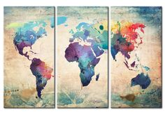 Baisuwallart 3 Pieces Abstract World Map Canvas Painting Vintage Posters and Prints Colorful Wall Art Wall Pictures for Living Room Bedroom Home Decor Office Artwork Canvas Art Prints, Canvas Wall Art, 3 Piece Canvas Art, 3 Piece Painting, Canvas Paintings, Framed Canvas, Diy Canvas, Tissue Paper Art, Office Artwork