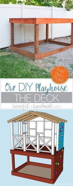 Even though our yard is small, we decided we still needed a DIY playhouse. Check out how we built the small playhouse for our kids, on a budget, starting with the deck. This project was so easy and now we can see the playhouse starting to take shape. Housefulofhandmade.com | How to Build a Playhouse | DIY Swing Set | Small Playhouse | Playhouse Build Plans #buildplayhouseeasy #easydeckstobuild #buildingadeck #kidsplayhouseplans #diyplayhouse