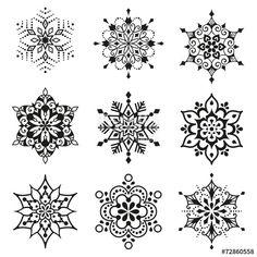 Graphic Design Vektor: Snowflakes Set Tips In Choosing Mandala Art, Mandala Doodle, Mandala Painting, Mandala Drawing, Mandala Pattern, Mandala Tattoo, Tatoo Art, Body Art Tattoos, Art Indien