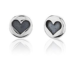 925 Sterling Silver Small Round Stamped Heart Stud Earrings