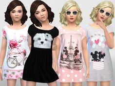The Sims Resource: Girls Summer Dress 002 by Pinkzombiecupcakes • Sims 4 Downloads