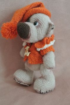 #Brown #Bear in the #orange hat, toy, amigurumi, gift for kids, for her, for the decoration of your home. Toy linked from natural wool sweater and a cap linked angora. Height ... #bear #brown #amigurumi #gift #toy #handmade #needlework #knitting #souvenir
