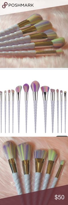Entire unicorn brush set GORGEOUS unicorn makeup 12 brush set! Never used still in package. I always take offers! =) Makeup Brushes & Tools