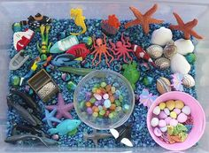 Naters is 46 months old. We are doing an ocean theme for the rest of the month. This is the ocean themed sensory tub that i put together f. Sensory Tubs, Sensory Boxes, Sensory Play, Fun Learning, Preschool Activities, Kindergarten Science, Preschool Learning, Ocean Activities, Under The Sea Theme