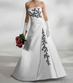 White Wedding Dress With Black Accents