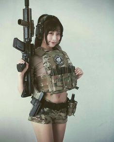Guns are awesome, girls are awesome, and the two combined together nearly defies the laws of all things awesome. Girls Are Awesome, Cute Girls, Airsoft Girls, Gunslinger Girl, Military Women, Military Army, Female Soldier, Warrior Girl, Poses