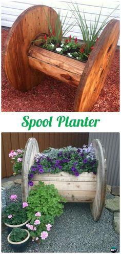 DIY Wood Spool Planter - Garden & Landscape Design Project DIY | Project Difficulty: Simple | Online DIY Project Vlog & Tutorials | www.MaritmeVintage.com