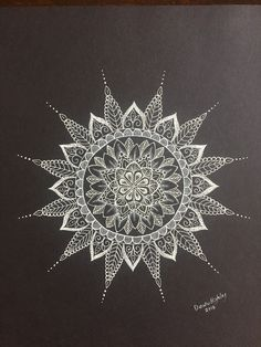 Mandala in black card stock with a Sakura white gel pen. #mandala #white #gelpen #sakura #blackpaper
