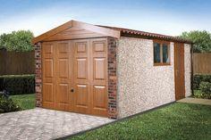 Apex Deco Deluxe concrete garage in golden oak Shed Design, House Design, Garage Packages, Prefab Sheds, Apex Roof, Concrete Garages, Garage Roof, Garage Studio, Roofing Systems