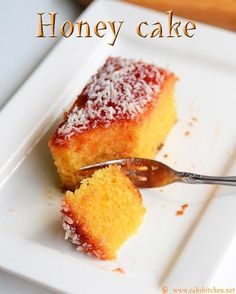 Eggless Indian bakery style Honey cake recipe with full video and step by step pictures! Eggless Desserts, Eggless Recipes, Eggless Baking, Baking Recipes, Cake Recipes, Dessert Recipes, Eggless Lemon Cake, Eggless Muffins, Honey Cake Recipe Indian
