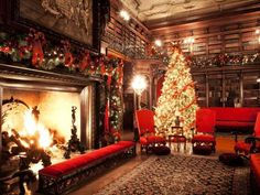 Swags of fresh evergreens and a brightly lit Christmas tree bring seasonal cheer to Biltmore House's massive, 40-by-60-foot, two-story library.