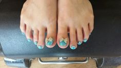 Sparkly blue pedicure using magpie glitters on gelish.  By Felicity Burgess - Young at Belle Dame Nails.