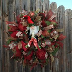 Deco Mesh Christmas Fairy Wreath Red Green Gold by GoblinsandHolly