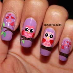 Owl Nails...would be great w/ gray owls on black or white on gray etc.