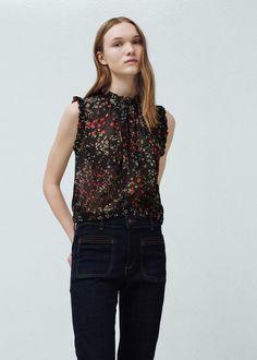 Top estampado floral - Camisas de Mujer | MANGO